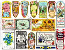 French Perfume Labels, 2 Sticker Sheets, Antique Apothecary & Druggist Bottles