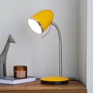 VINTAGE RETRO STYLE OCHRE YELLOW INDUSTRIAL OFFICE DESK LAMP TABLE LIGHT BEDSIDE