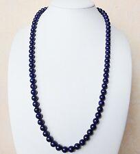 Edelsteinkette Natur Lapis-Lazuli Halskette 8mm Perlen 60 cm Collier True Gems