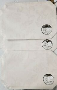 """SET OF 3 SAME DAMASK FABRIC PLACEMATS 12"""" x 18"""", FLOWERS ON OFF WHITE by BH"""