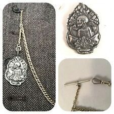 with Memento mori skeleton Fob curb link pocket watch chain
