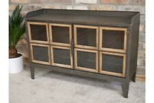 Industrial Metal / Wood Display Cabinet 2 Doors 2 Compartments