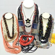 MULTI COLORED SEED BEAD NECKLACE LOT - VINTAGE TO NOW JEWELRY