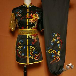 Martial Arts Kung Fu Uniform Wushu Competition Suit Dragon Embroidery Sequins