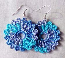 CROCHET BLUE SILVER HOOK  DANGLE  DROP EARRINGS  FASHION JEWELRY  WOMEN Girls