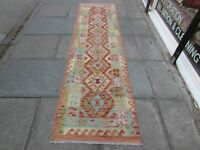 Kilim Old Traditional Hand Made Afghan Oriental Red Long Kilim Runner 288x79cm