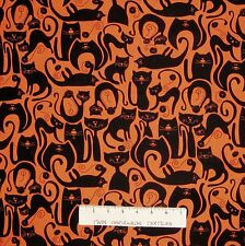 Halloween Fabric - Orange & Black Cat Silhouette - Benartex Kanvas YARD
