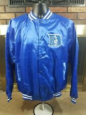 Vintage Duke Blue Devils NCAA Basketball Satin Style Snap Jacket Mens Size Large