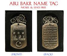 """ABU BAKR"" Mens Arabic Name Necklace Tag - Birthday Wedding Ayatul Kursi Gifts"