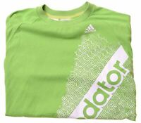 ADIDAS Boys Graphic T-Shirt Top 13-14 Years Green Cotton  BF04