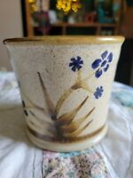 """Small Pottery Glazed Planter Bowl Brown speckled blue flowers 4.25"""" T x 5""""W"""