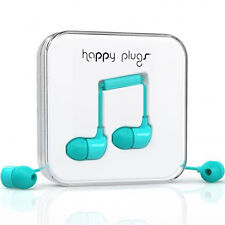 NEW HAPPY PLUGS IN EAR EARPHONES HEADPHONES WITH MIC REMOTE TURQUOISE BLUE 7722