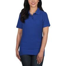 Ladies Polo Shirt Short Sleeve Womens Plain Pique Classic Top T Shirt Lot 18 - 20 Royal Blue 4 Pack