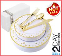 125 PCS Gold Plastic Plates with Disposable Plastic Silverware, 25 Hand Napkins
