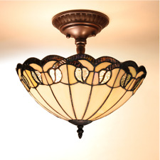 Tiffany Hanging Light Lamp Ceiling Chandelier Stained Glass Fixture Flush Mount