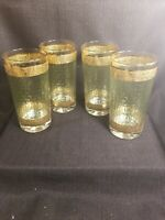 Continental Culver Style MCM-  Embossed Green Gold Highball Tumblers Glasses