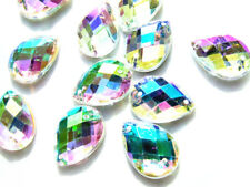 96 AB Coated Acrylic Rhinestone Gems Teardrops/Pear Shape 13x18mm Flatback Sewon