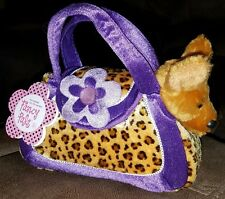 Fancy Pals Toy Pet Carriers, Chihuahua in Purple/Animal Print Bag