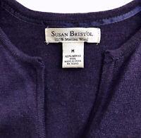 Susan Bristol Purple Women's Cardigan Sweater Soft 100% Merino Sheep Wool Medium