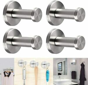 4x Bathroom Robe Towel Hooks Holder Hanger In Chrome Wall Mounted Coat Hook