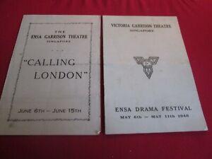 2X ENSA / VICTORIA GARRISON THEATRE PROGRAMMES SINGAPORE 1946