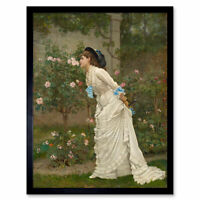 Auguste Toulmouche Woman And Roses 1879 Painting Wall Art Print Framed 12x16