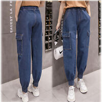 Women Casual Loose Elastic Waist Denim Jeans Wear Harem Pants Trousers