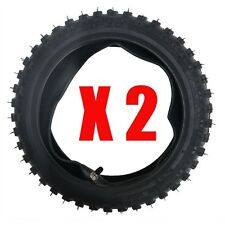 """2pcs 2.50-10"""" Inch Front Knobby Tyre Tire + Tube Pit Dirt Trail Bike Motorcycle"""