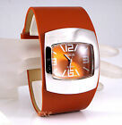 Retro 60s 70s Funky Bubble Vegan Leather Toffee Tan Copper Ladies Pod Watch Cuff