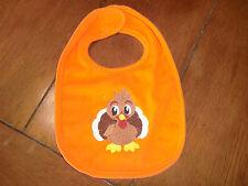 Embroidered Baby Bib - Thanksgiving Turkey - Orange Bib