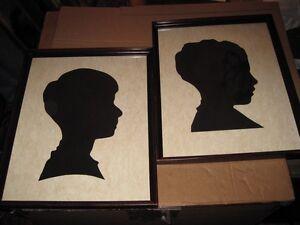 Antique Pair Silhouette American Children Profile in Period Mahogany Frame c1860