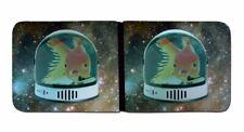 Printed Mens Wallet & Card Holder Space Helmet Goldfish Mens Travel Wallets