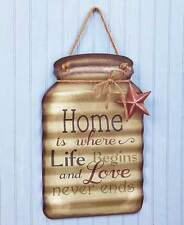 Hanging Metal Mason Jar Sentiments Star Greeting Porch Sign Welcome Wall Decor