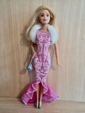 Barbie Stunning Fashionistas Doll in a Pink Evening Gown Fur Shrug,Shoes & a Bag