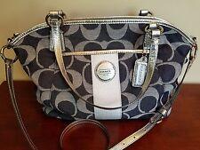 Authentic Coach Signature Pocket Large Tote Bag Purse F17948 Denim/Silver MINT