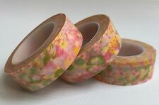 WASHI TAPE PINK & LEMON FLORAL 15MM WIDE X 10MT ROLL SCRAP PLANNER CRAFT WRAP