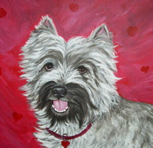 Dog Cat Any Pet Animal Custom Painted Portrait Canvas Painting 6 x 6 Inches