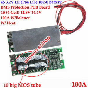 100A BMS PCB Protection Board 4S 12.8V w/Balance LiFePo4 LiFe 18650 Battery Cell
