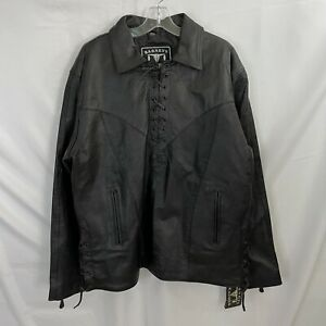 Barneys 100% Real Cow LEATHER Pullover Biker Shirt Lace Up Large NEW