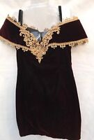 Vintage Off The Shoulder Velvet Maroon Dress Sz 11 Prom Formal Cocktail Theater
