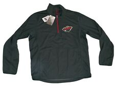 New Men's Nhl Minnesota Wild 1/4 Zip Pullover Shirt Jacket Large Nwt