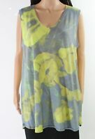 Nally & Millie Women's Top Blue Size XL Tank Foral Printed V-Neck $68 #052