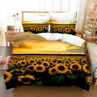 3D Sunflower Sea  Duvet Cover Setting Sun Bedding Set Comforter Cover PillowCase