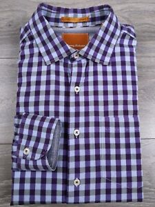 Tommy Bahama Mens L Purple Check Long Sleeve Button Down Cotton