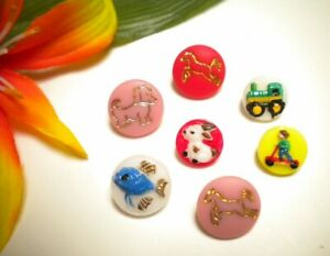 VINTAGE GLASS LOT KIDDIE BUTTONS BUNNY RABBIT SCOOTER FISH TRACTOR HORSE DOG