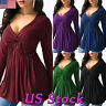 Women's V Neck Tunic Top Blouse Pleated Long Sleeve Slim Fit T-shirt Loose Dress