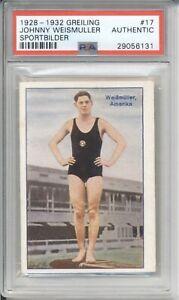1928 Greiling JOHNNY WEISMULLER #17 PSA Authentic Sport Bilder Olympic Swimmer
