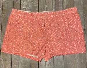 Ann Taylor Loft Women's Dress Shorts Cutouts Lined Deep Coral Size 16