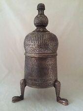 Una grande cairoware islamica argento intarsiati mumluk Revival incensi Burner 4.8 KG
