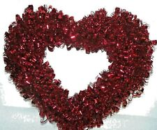 Valentine Tinsel Wreath Red 16""